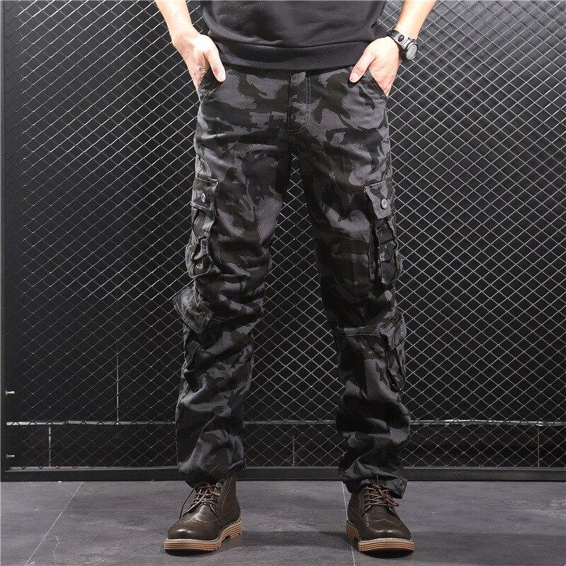 Pantalones Cargo para hombre, ropa informal militar del ejército de camuflaje, monos holgados de talla grande con múltiples bolsillos, pantalones de Hip Hop para hombre