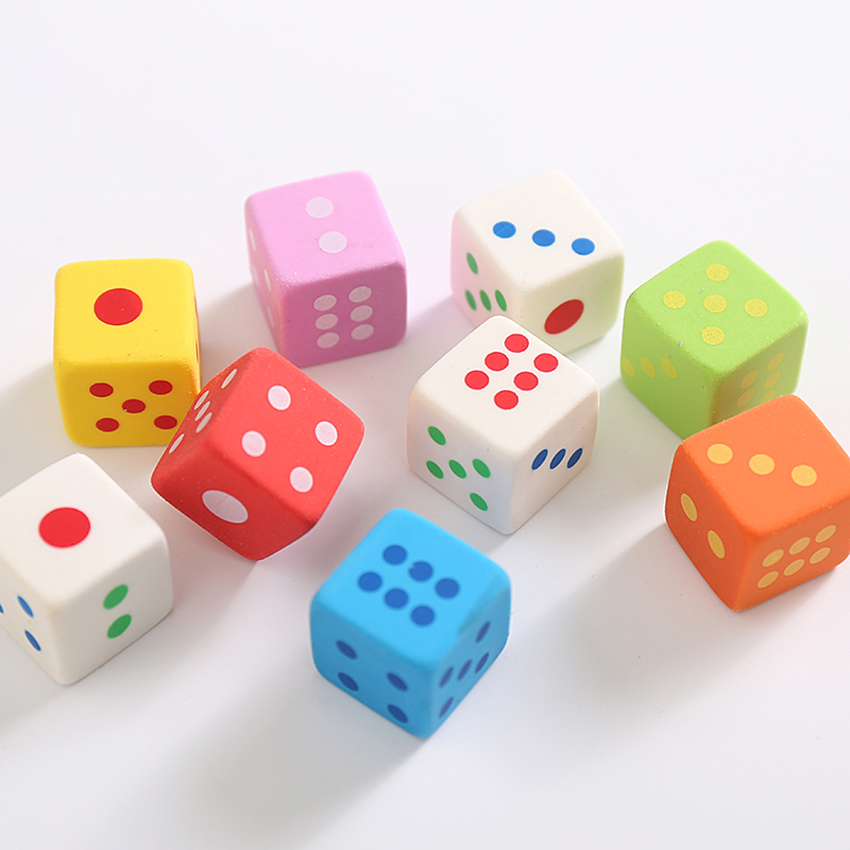 3pcs/set Creative Dice Shape PVC Eraser Colorful Cube Pencil Erasers Kids Toys Words Drawing Wiping Off Correction Stationery