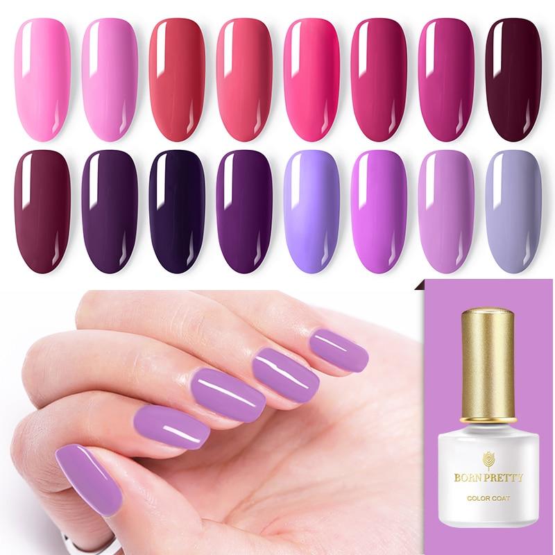 BORN PRETTY Gel Polish Pink Purple Series Soak Off Nail Art Semi Permanent UV LED Gel Nail Polish UV Gel For DIY Manicuring 6ml