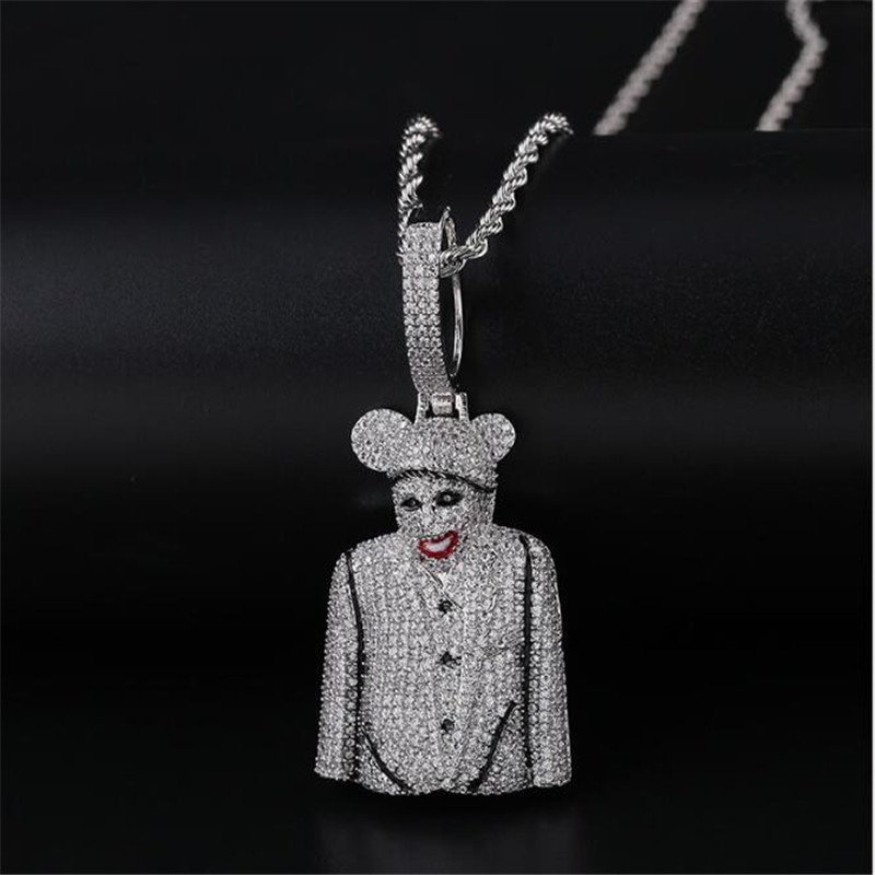 Iced Out 3D Clown Figure Pendant Necklace Mens Bling Hip Hop Charm Chain Jewelry B256