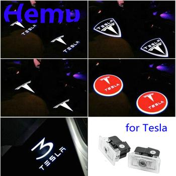 Dla Tesla Model S Tesla Model 3 X Y Led samochodów drzwiowe światło wejściowe projektor do logo lampa laserowa cień duch oświetlenie drzwi akcesoria 2 sztuk tanie i dobre opinie Witamy Światło