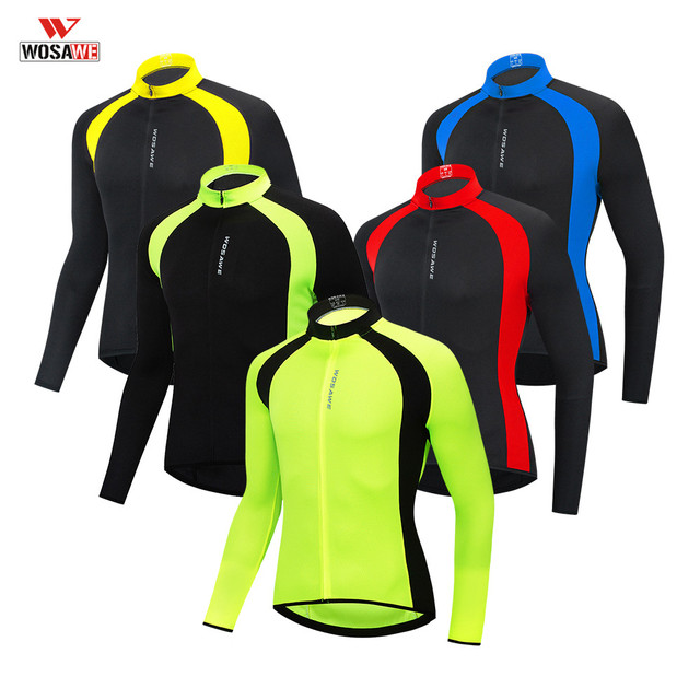 WOSAWE Mens Autumn Winter Cycling Jersey Long Sleeve Sun protective Road Bike Tops MTB Jersey Bicycle Clothing Hombre Wear
