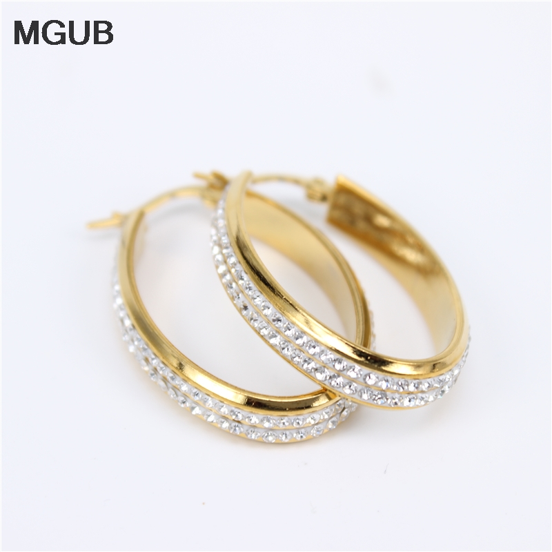 Stainless Steel Two Rows Of Crystals High Quality Oval Hoop Earrings Simple Diameter 27-47MM Earring For Women Jewelry LH847