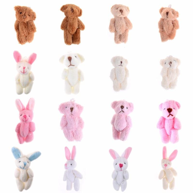 3.5/4/4.5/6/8cm Soft Plush Bunny Bear Mini Joint Rabbit Bear Pendant For Key Chain Bouquet Toy Doll DIY Ornaments Gifts