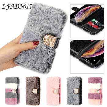 Luxury Cute Fur Fluffy Wallet Phone Case For iPhone 11 Pro Max Xr X Xs 6 6S Plus 7 8 5 5S SE 2020 12 Mini Soft Leather Cover