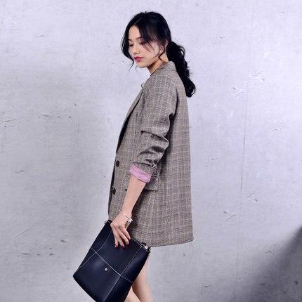 New Spring Women Blazer Elegant Casual Tops Basic Jackets Long Sleeve Plaid Suit Caot Women Blazers Lady Work Wear Hot LX98