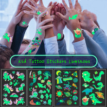 M`J Tattoo Stickers Luminous Child Kid Temporary Fake Tattoos Glow Paste on Face Arm Leg for Children Body Art Mermaid Sticker