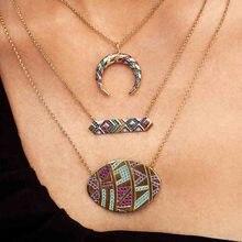 Itenice Luxury Multicolor Oval Pendant Necklaces Women Tribal Round Geometric Necklace Eye Crystal Necklaces Jewelry stylish rhinestoned fake crystal oval necklace for women