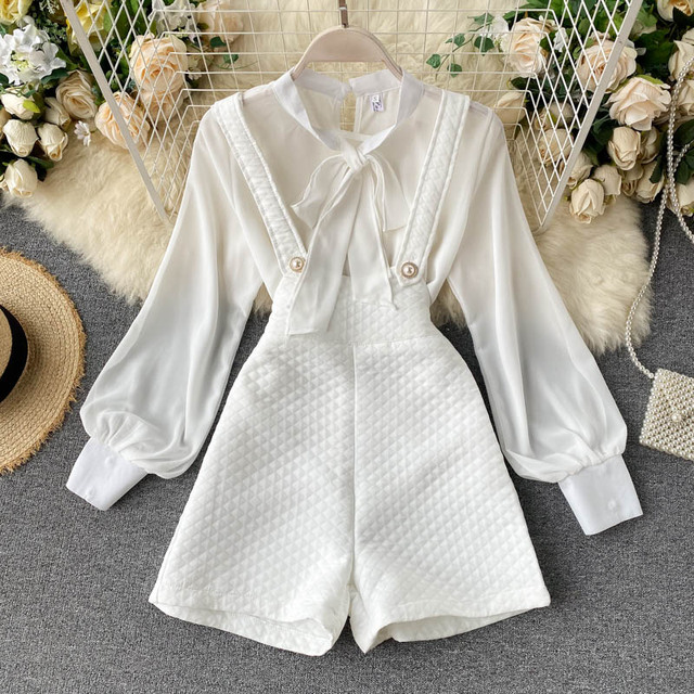 Autumn 2021 New Women's Long Sleeve Shirt Chiffon Pure White Versatile Backpack Pants Fashionable Two-piece Set Office Attire 1