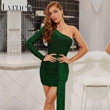 Пикантное зеленое блестящее ДРАПИРОВАННОЕ Клубное вечернее платье