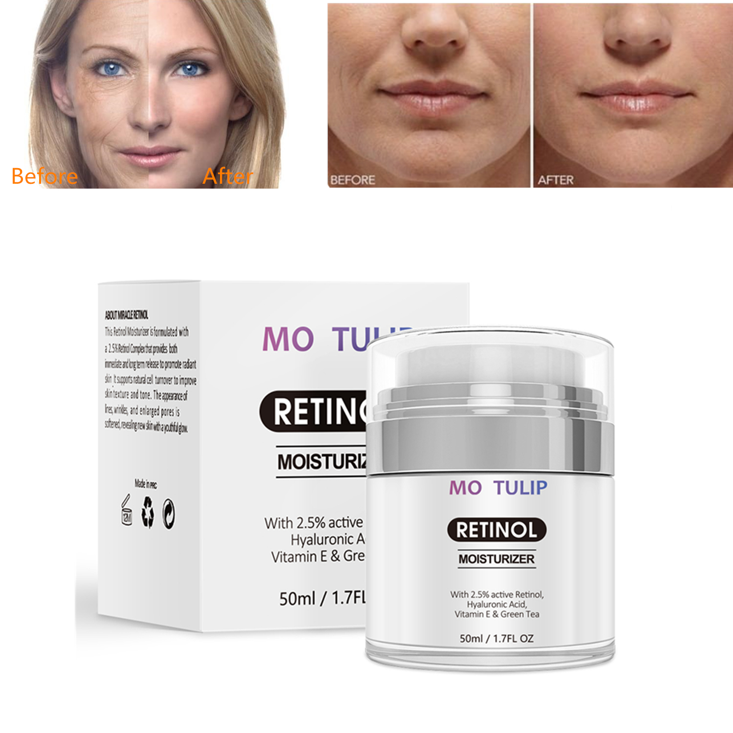 Retinol 2.5% Moisturizing Cream Anti Aging And Reduces Wrinkles And Fine Lines Day And Night Retinol Cream Drop Shipping