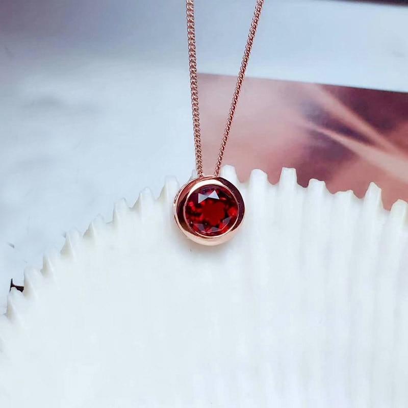 SHILOVEM 925 argent naturel grenat pendentifs envoyer collier classique en gros Fine femmes nouveau cadeau 8*8mm mz0808365agz