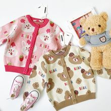 Knitted-Cardigan Long-Sleeve Tonytaobaby Girls Boys Cartoon Autumn Sweet for And Round-Neck