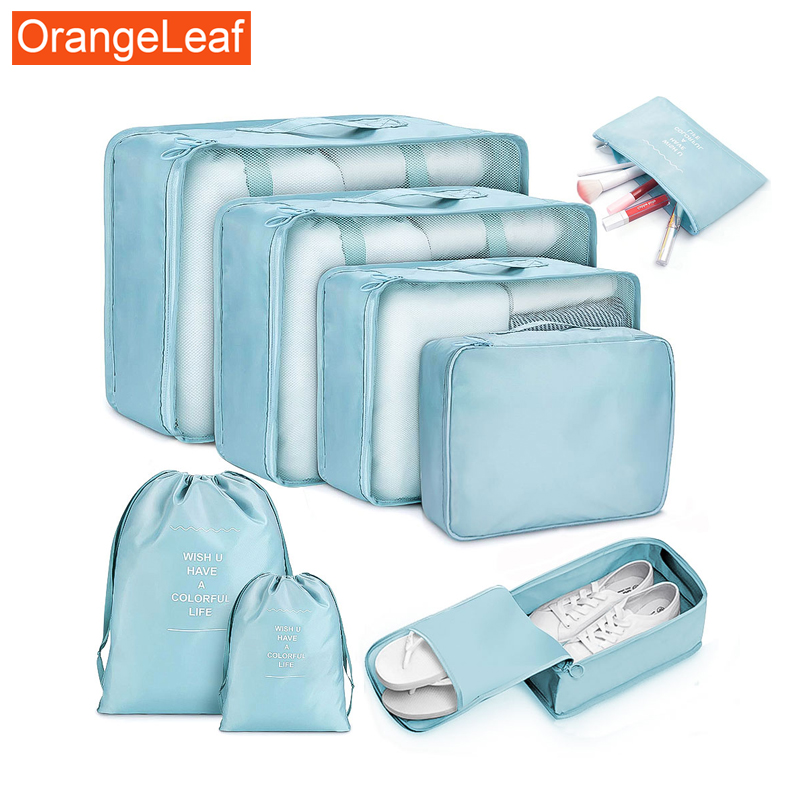 Fashion 8Pcs Travel Storage Bag Polyester Waterproof Travel Organizer Clothing Sorting Bag Storage Bag Travel Accessories Set