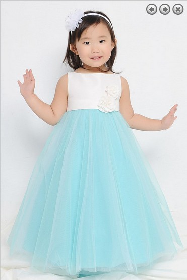 Free Shipping Flower Girl Dresses For Weddings 2016 First Communion Christmas Pageant Dresses For Girls Blue Wedding Party Dress