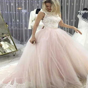 Pale Pink Court Train Wedding Dress with Lace Appliques Sleeveless Bridal Dress Wedding Dress - DISCOUNT ITEM  23% OFF All Category