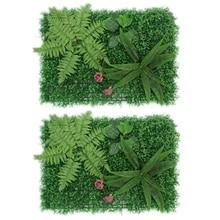Fashion2Pcs Artificial Green Plant Lawns Carpet Artificial Grass Wall Panel Home Garden Wall Landscaping Miniature Lawn Backdrop
