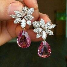 Boucles d'oreilles en diamant rubis naturel pour femme, bijoux couleur argent, grenat, pierres précieuses, S925