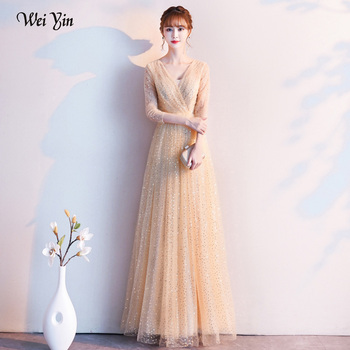 wei yin AE0205 New Evening Dress 2020 Sexy V Neck Reflective Dress Tulle Floor Length A Line In Women' Dresses Plus Size