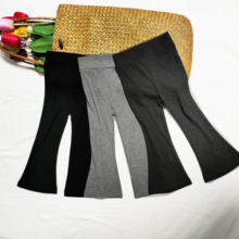 Girls' Pants 2021 New Spring And Summer Solid Color Tights Threaded Flared Pants 1-6 Years  Solid Color Baby Girl  Pants