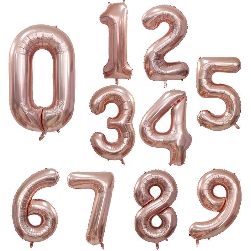 30 40 pulgadas globos grandes de papel de aluminio de cumpleaños globos de gas helio número globo decoración para fiesta de feliz cumpleaños oro plata negro figuras Ballon cumpleaños