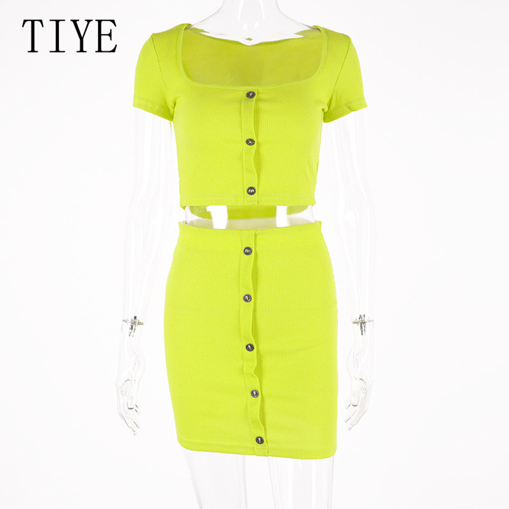 TIYE Casual Female 2 Pieces Sets Buttons Mini Dress Elegant Short Sleeve Hollow Out Retro Dress Women Summer Streetwear Dresses in Dresses from Women 39 s Clothing