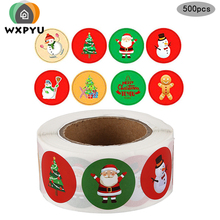 120psc/roll  Merry Christmas Santa Claus Deer Stickers Decorative Round Sealing Stickers DIY Gift Stationery Sticker цены онлайн