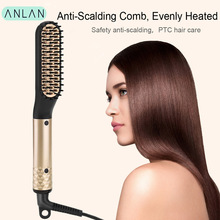 цена на ANLAN Hair Straightener Comb Durable Electric Heated Straight Hair Brush Comb LCD Ceramic Hair Straightener Brush EU US Plug