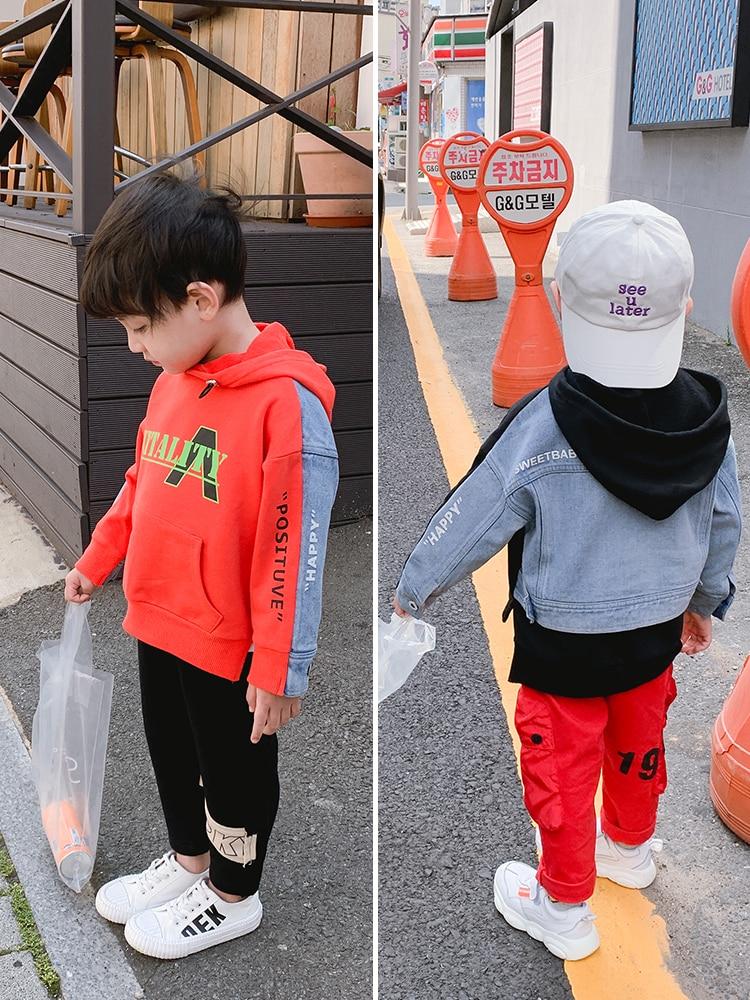 Boys Hooded Sweatshirts chun qiu kuan Children, Spring 2021) New Tops Baby Loose Long-Sleeved Spring Chichi-Music of the Tide 1
