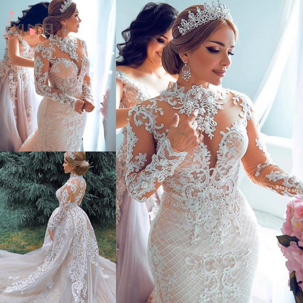 Luxury 2020 Arabic Dubai Mermaid Wedding Dresses Detachable Train High Neck Lace Appliuqe Long Sleeves Plus Size Wedding Gowns