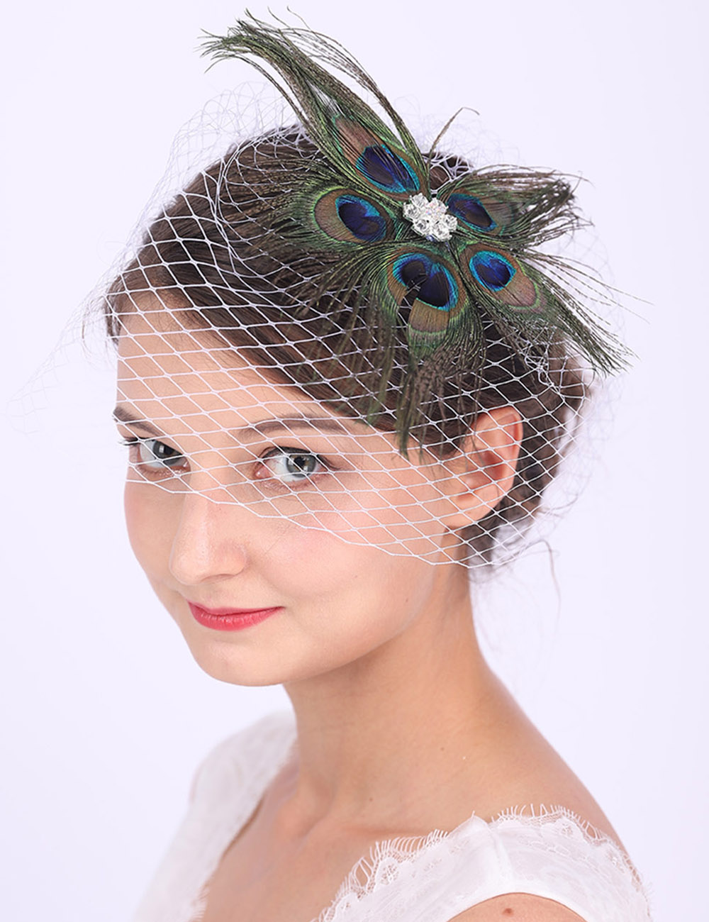 bridal headpiece bird cage bride vintage veil feathers velvet bow elegant fascinator wedding bridesmaids ivory black customisable coque