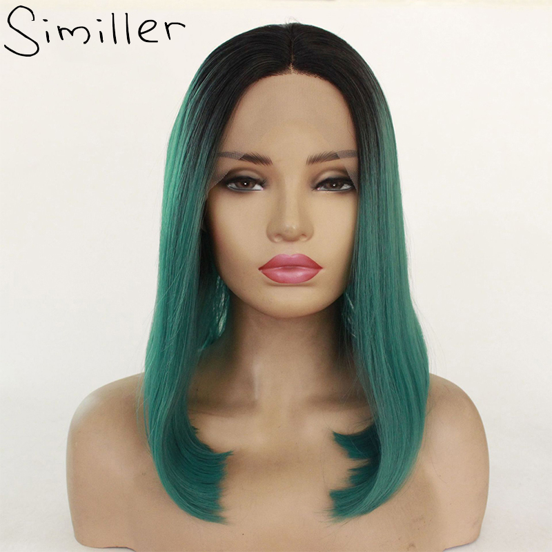 Similler Black T Green Brown Ombre Short Straight Bob Synthetic Lace Front Wig For Women Heat Resistance Middle Part 16inch