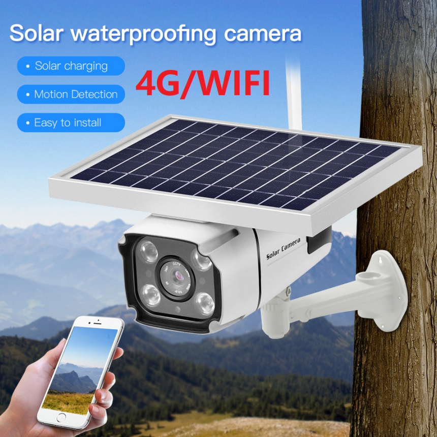 3G 4G SIM Card Solar camera ip security wifi wireless 1080p low power consumption battery backup for ware house and vehicle image