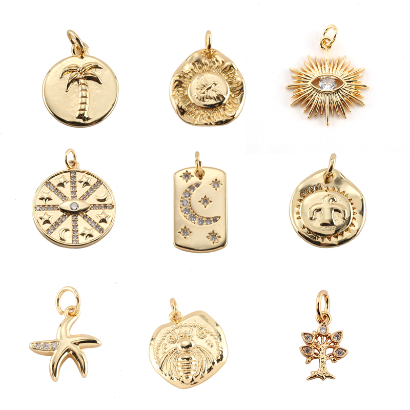 Charm Charms for Jewelry Making Supplies Gold Dust Moon Star Tree Eye Diy Earring Neckalce Metal Copper CZ Zircon Accessories