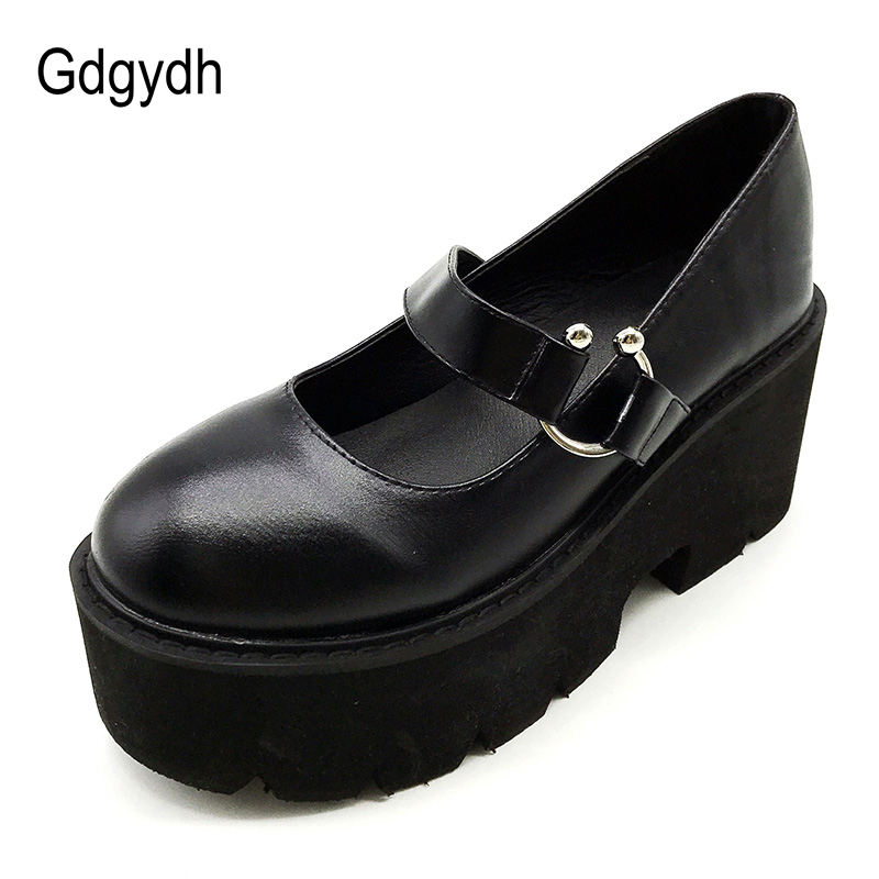 Gdgydh Spring Autumn Chunky Heel Vintage Lolita Shoes Women Platform Shoes Mary Jane Buckle Strap School Shoes For Girls Black
