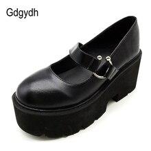 Gdgydh, primavera Otoño, tacón grueso, zapatos Vintage Lolita para mujer, zapatos de plataforma Mary Jane, zapatos escolares con correa y hebilla para niñas, negro