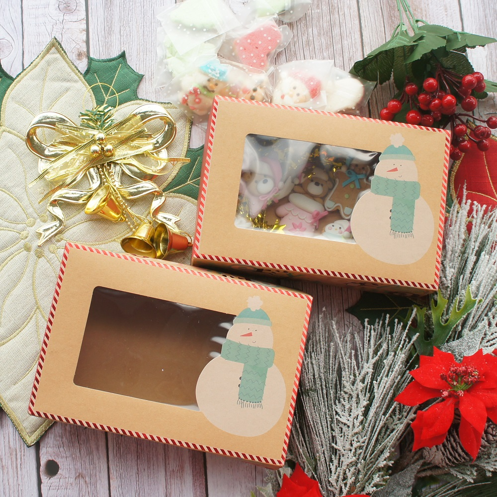 22*15*7cm 10pcs Kraft Paper Red Christmas Snowman Snow Design Paper Box Candle Cookie Candy DIY Party Favors Gifts Packaging