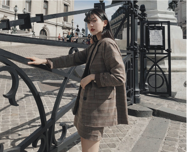 plaid skirts suits Girls Female Vintage Autumn elegant Women's Sets (Separate) women two piece outfits 2 piece outfits for women 3