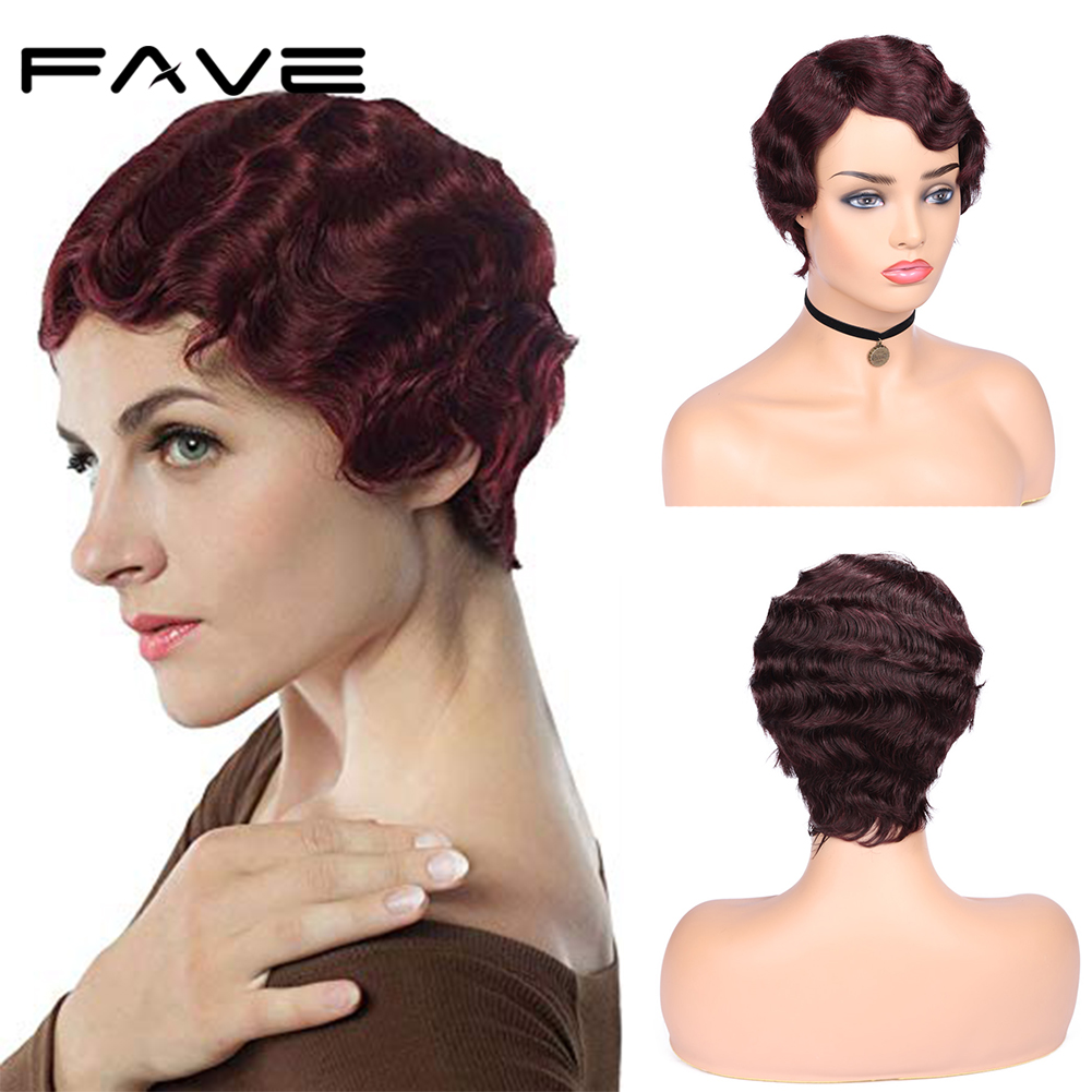 FAVE Short Finger Wave Wigs Pixie Cut Wigs Brazilian Ocean Wave Wig Remy Human Hair Wigs For Black/White Women Bouncy 6 Inches