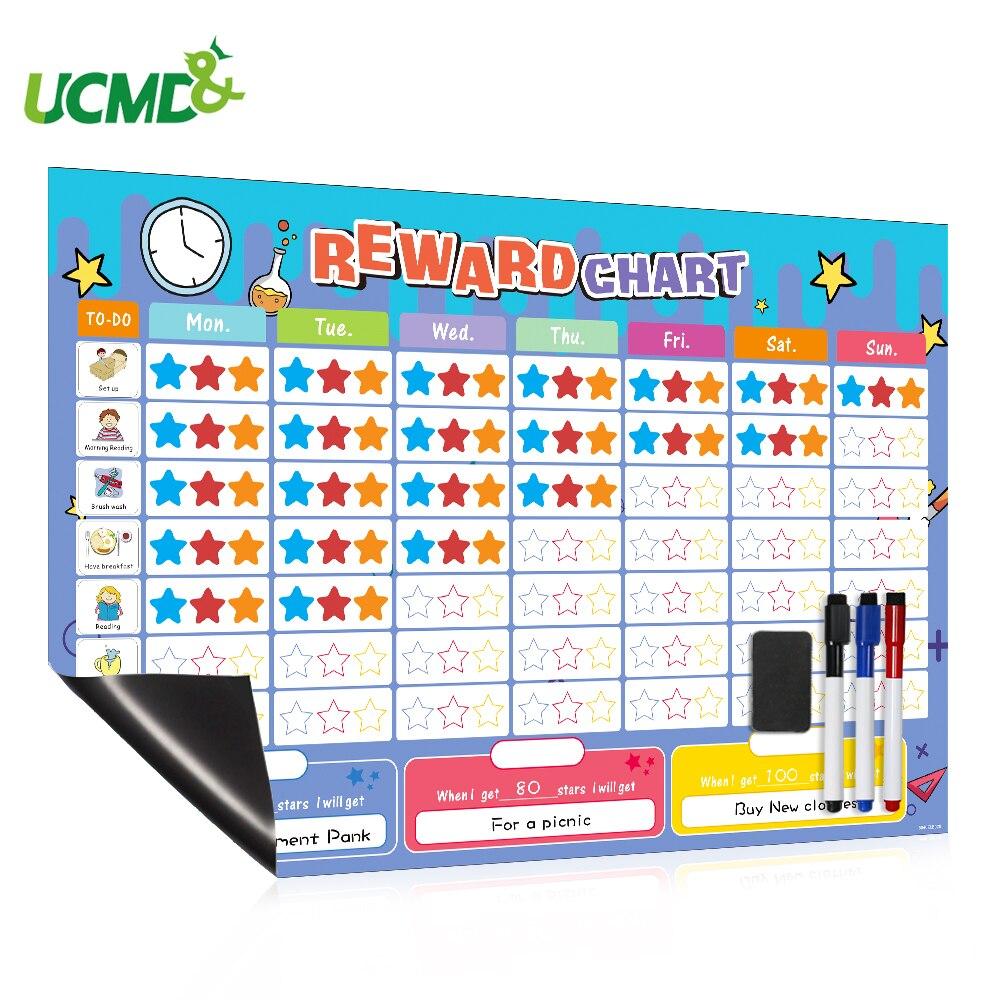 Child Growth Record Table Wall Sticker Good Behavior Responsibility Reward Chart With Magnetic Star Fridge Sticker Calendar Toys Aliexpress