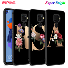 цена Black Silicone Cover Letter Alphabet Flowers for Huawei Mate 30 (5G) 20 20X 10 Lite Y9 Y7 Y6 Y5 Pro Prime 2019 2018 Phone Case онлайн в 2017 году