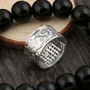 Image 3 - BALMORA ريال 999 الفضة خمر كوي المفتوحة التراص خواتم الاصبع للرجال النساء زوجين هدية خاصة البوذية سوترا مجوهرات الأزياء