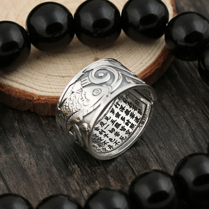 Image 3 - BALMORA Real 999 Silver Vintage Koi Open Stacking Finger Rings for Men Women Couple Special Gift Buddhism Sutra Fashion Jewelry