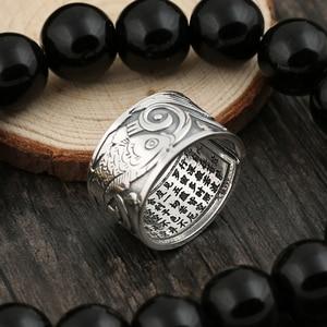 Image 3 - BALMORA bagues Vintage en argent 999, bijoux Vintage Koi à empiler, ouvert, cadeau spécial pour Couple, bijou bouddhiste Sutra, à la mode