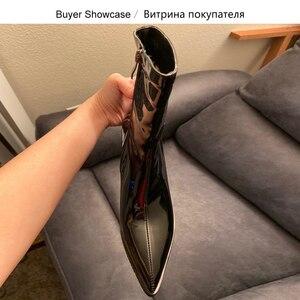 Image 4 - ¡Novedad! SARAIRIS botines de talla grande, 31 46, color negro, charol Pu, botines de moda para mujer, Botines Chelsea, botas para mujer 2020, zapatos de tacón alto para mujer