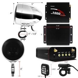 Image 4 - Aileap 1000W de Audio para motocicleta sistema de altavoces amplificador de 4 canales, soporte Bluetooth, AUX, Radio FM, tarjeta SD, USB Stick (cromo)