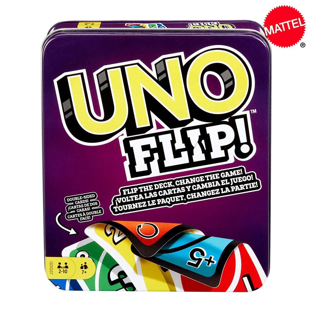 Mattel карточные игры UNO: FLIP! (Жестяная коробка) Семейная забавная игра в покер игральные карты детские игрушки подарок