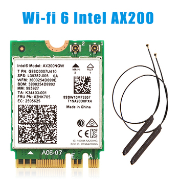 WiFi 6 Dual Band 3000Mbps Wireless Card For Intel AX200 M.2 Bluetooth 5.0 2.4G/5Ghz 802.11ac/ax AX200NGW Wi-fi Adapter Antenna dual band 2400mbps wifi 6 ax200ngw pci e 1x wireless adapter 2 4g 5ghz 802 11ac ax bluetooth 5 0 for ax200 network card
