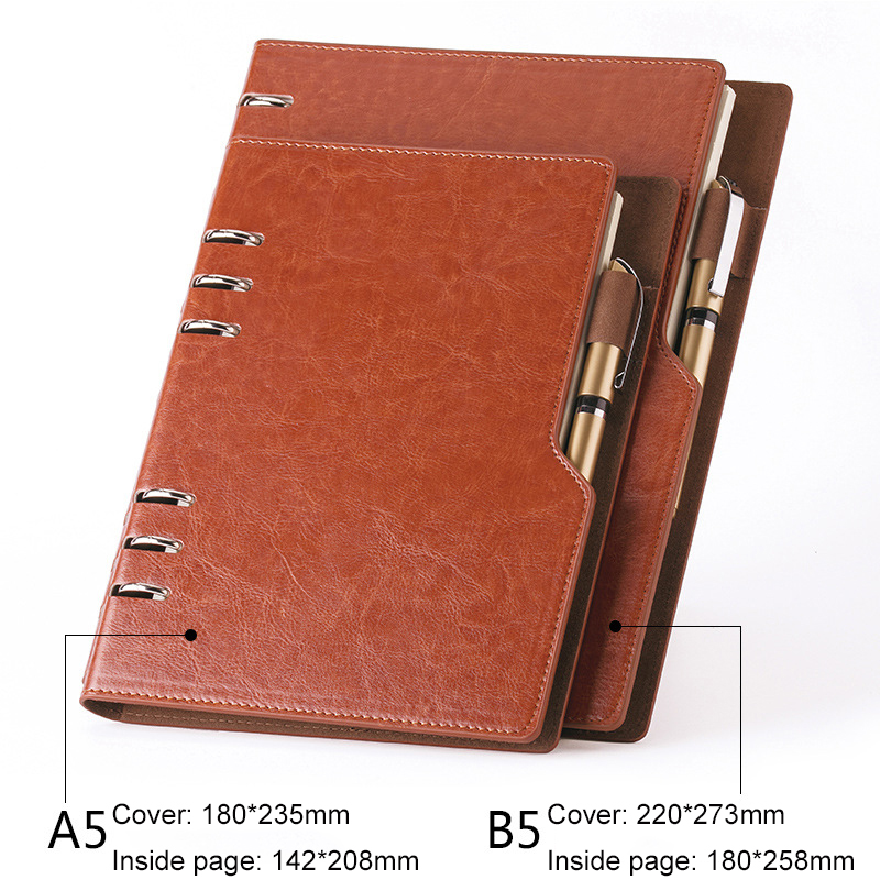 Notebook A5 B5 Leather Bullet Journal Annual Planner 2020 Spiral Agenda Personal Diary Binder Pocket Organizer For Stationery