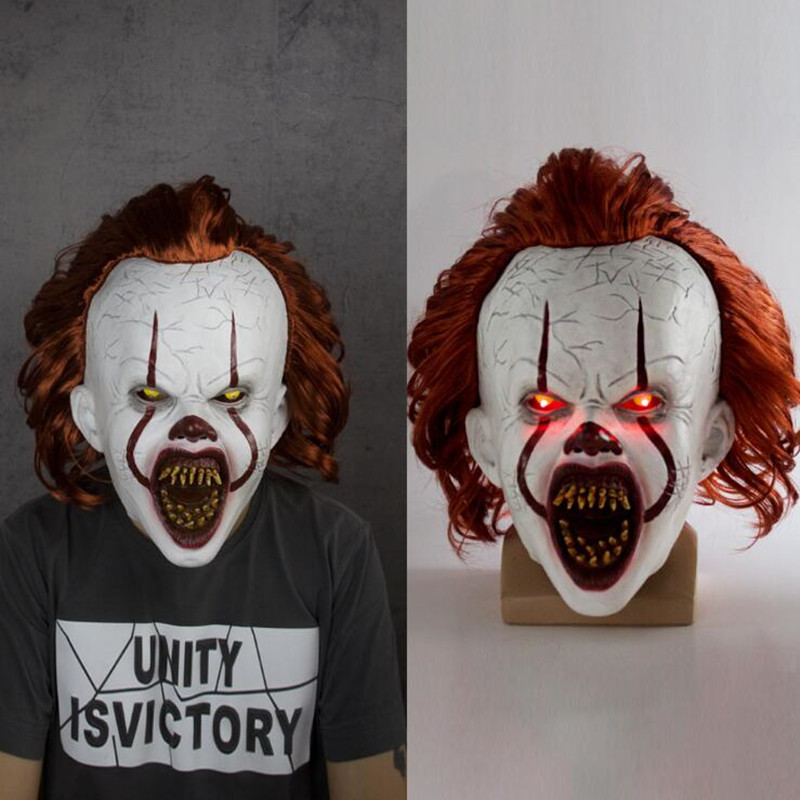 Stephen King's It Mask Pennywise <font><b>Horror</b></font> Clown Joker Mask The eyes will shine Clown Latex Mask Halloween Cosplay Costume Props image